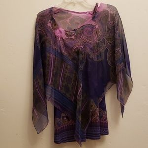 ONE WORLD Tops - Live and Let Live purple scarf top with tank